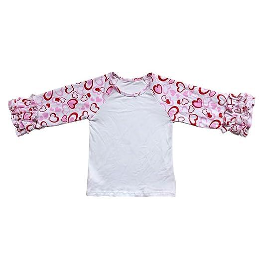 69808de1129 Amazon.com  Girls Icing Ruffles Raglan Shirt Boutique Love Heart Egg  Clothes Cotton Tee Baseball Top for Valentine s Day Easter  Clothing