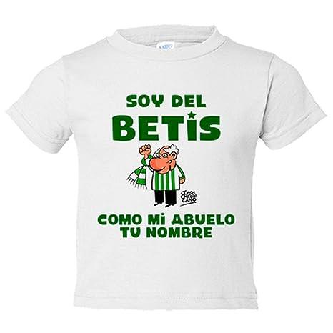 Camiseta niño soy del betis como mi abuelo personalizable con nombre - Blanco, 3-