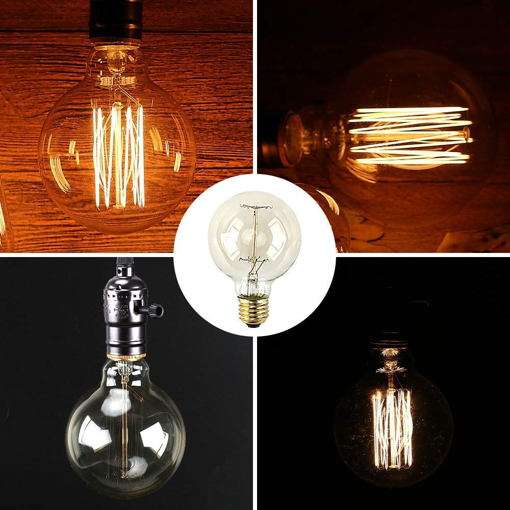 Bombillas Vintage E27 40W,Lampara decorativa retro Edison G80 regulable Bulbo Filamento Tungsteno Blanco cálido 2700-2900K - 2 Piezas (Alambre recto)