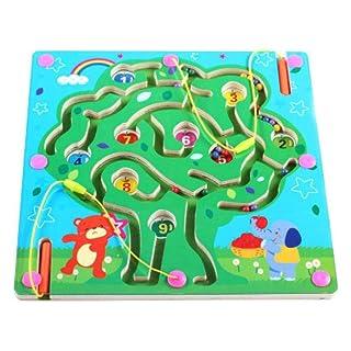 Wovemster Grande labirinto, gioco di abilità, labirinto magnetico dell'albero in legno intelligente giocattolo da tavolo, 3 anni e il regalo di Natale perfetto per i vostri bambini (albero)