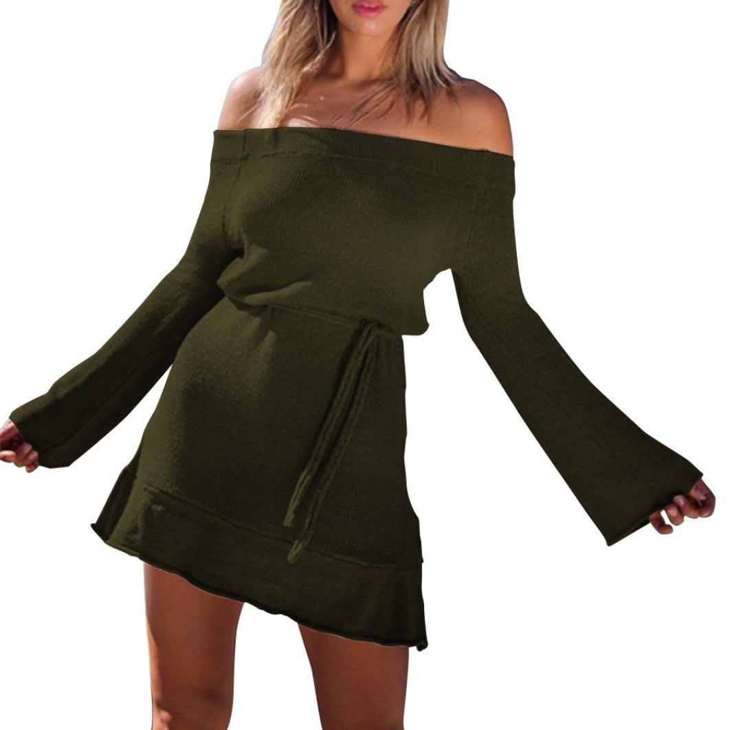 Sweather Dress Long Sleeve,Vanvler Women Female Off Shoulder Dress Knitting