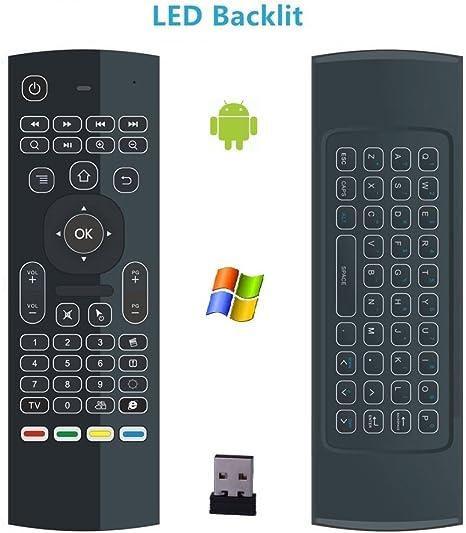 jabond MX3 retroiluminado teclado Mini inalámbrico 2,4 G mando a distancia multifunción teclado 3-Gyro + 3-Gsensor para Android Smart TV Box, MINI PC, HTPC, IPTV, Windows, IOS, Mac, Linux, PS3, XBOX: Amazon.es: