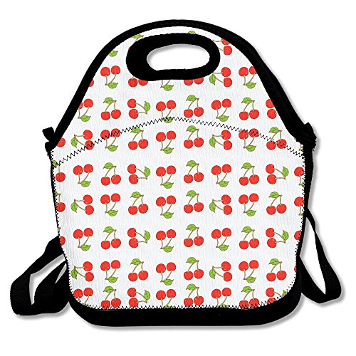 (Funny Fruit Cherry Lunch Bag Tote Handbag Lunchbox Food Container Tote Cooler Warm Pouch For School Work Office)