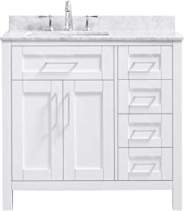 Ove Decors Maya 36 Set Bathroom Vanity Freestanding Cabinet, 36 inches, Pure White with Carrara Natural Marble Countertop