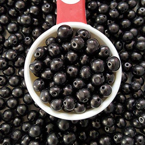 Acai Beads - acai nut round beads 8-10mm Black, acai palm tree seed beads 8-10mm round. (100)