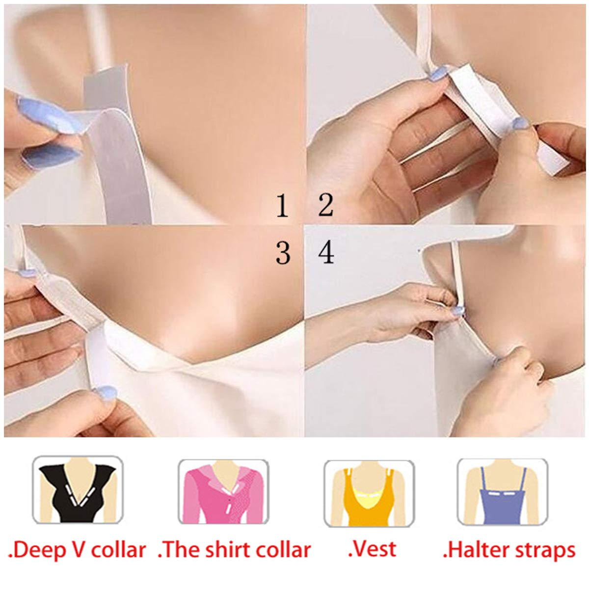 6 Rolls Double Sided Self Adhesive Clothes Tape Fashion Body Tape for Skin//Breast 5 Meters with 6 Tapes and a Dispenser for Dress Secret Bra Tape,30 Meters Body Tape