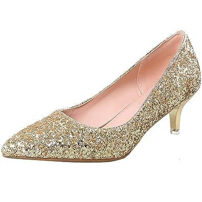 d5bcd851764 Artfaerie Womens Stiletto Kitten Heel Glitter Court Shoes Pointed Toe  Bridal Wedding Pumps Shoes Gold