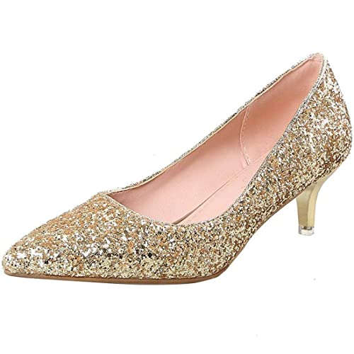 77a1329715b Artfaerie Womens Stiletto Kitten Heel Glitter Court Shoes Pointed Toe  Bridal Wedding Pumps Shoes