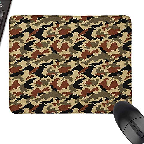 (Personalized Mouse pad Camouflage,Pixel Art Style Blending in Environment Pattern Abstract Fashion Design, Brown Black Sepia Gaming Mouse pad 15.7 x23.6)