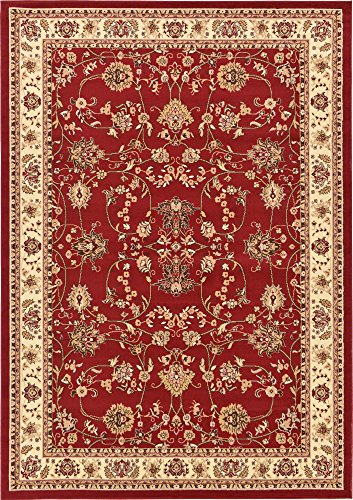 Turkish Carpet Designs - Unique Loom Kashan Collection Traditional Floral Overall Pattern with Border Burgundy Area Rug (7' 0 x 10' 0)