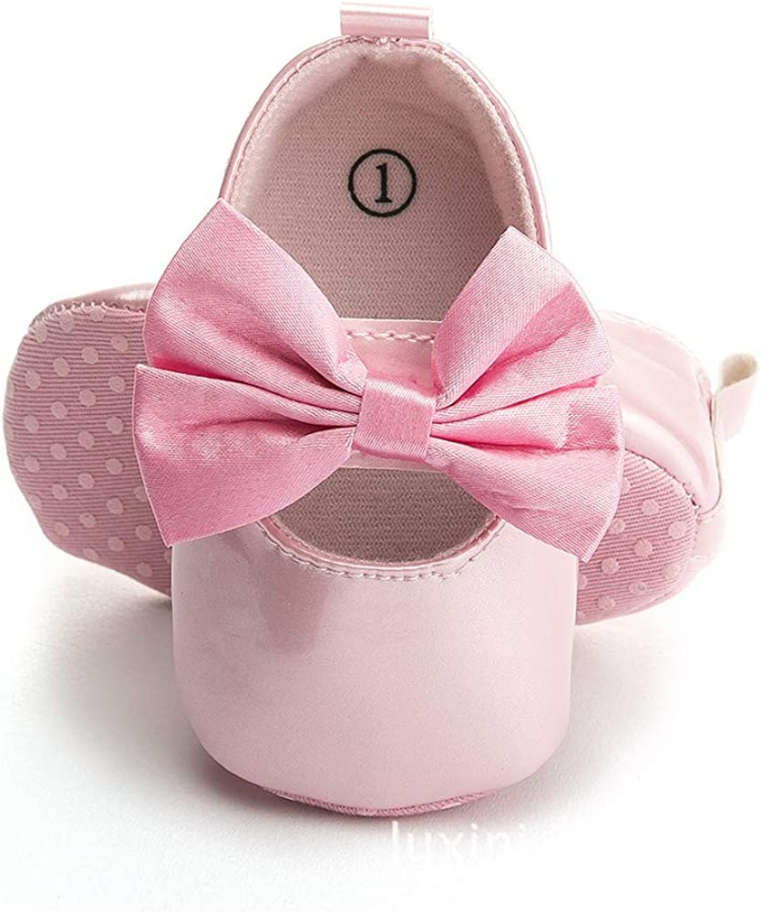 DLRWKUD Baby Girls Mary Jane Flats Bowknot Shoes First Walker Crib Shoes No-Slip Toddler Princess Dress Shoes