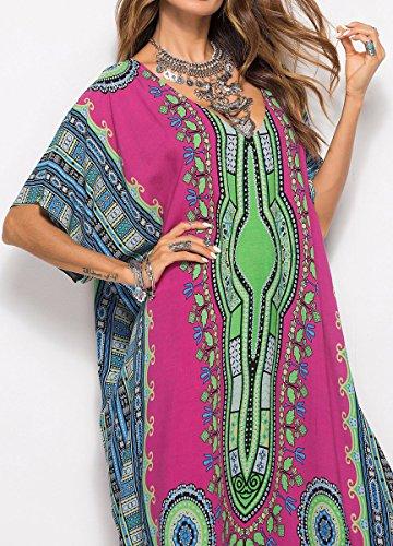 BLACKMYTH Maxi Up Cou Cover Impression Caftan Rose Mode Fleur V Plage Robe Femme Kaftans Grande Taille rTqxnHCr