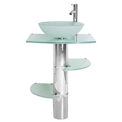 Modern Bathroom Vanity 20inch Pedestal Frosted Glass Vessel Sink