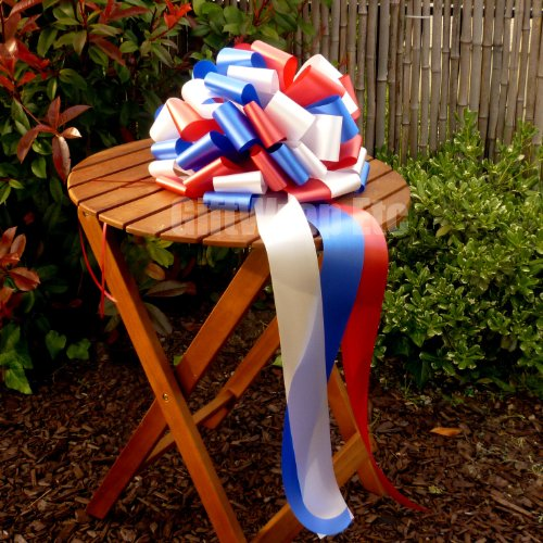 """Large Car Bow, 16"""" Wide - Patriotic Red, White, Blue, 4th of July, Veteran"""
