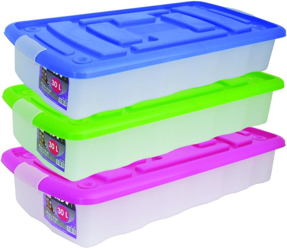 MSV 344 - Caja de almacenaje con ruedas (plástico, 30 L), transparente,disponibile en 3 colores: verde, azul y rosa, 1 sola caja se entrega; Color aleatorio: Amazon.es: Hogar