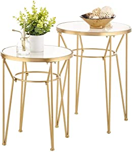 mDesign Round Metal & Marble in-Lay Accent Table with Hairpin Legs- Side/End Table - Decorative Legs, Marble Top - Home Decor Accent Furniture for Living Room, Bedroom - 2 Pack - Soft Brass/Marble