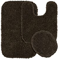 Garland Rug 3-Piece Serendipity Shaggy Washable Nylon Bathroom Rug Set, Chocolate