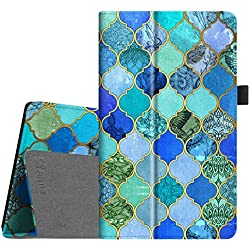 Fintie Folio Case for All-New Amazon Fire HD 8 Tablet (7th Generation, 2017 Release) - Slim Fit Premium Vegan Leather Standing Protective Cover with Auto Wake / Sleep, Cool Jade
