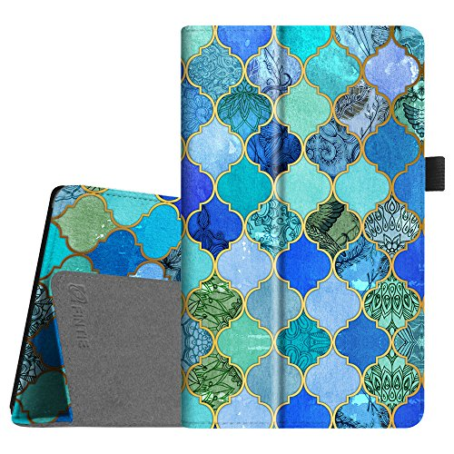Fintie Folio Case for All-New Amazon Fire HD 8 Tablet (Compatible with 7th and 8th Generation Tablets, 2017 and 2018 Releases) - Slim Fit Premium Vegan Leather Standing Protective Cover, Cool Jade