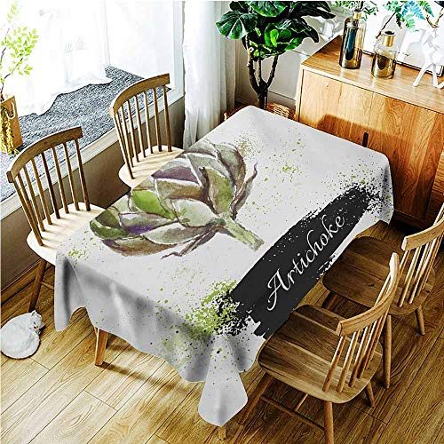 TT.HOME Custom Tablecloth,Artichoke Hand Drawn Delicious Fresh Vegetable Healthy Menu Good Eats Super Food,Resistant/Spill-Proof/Waterproof Table Cover,W52x70L,Fern Green and Black -