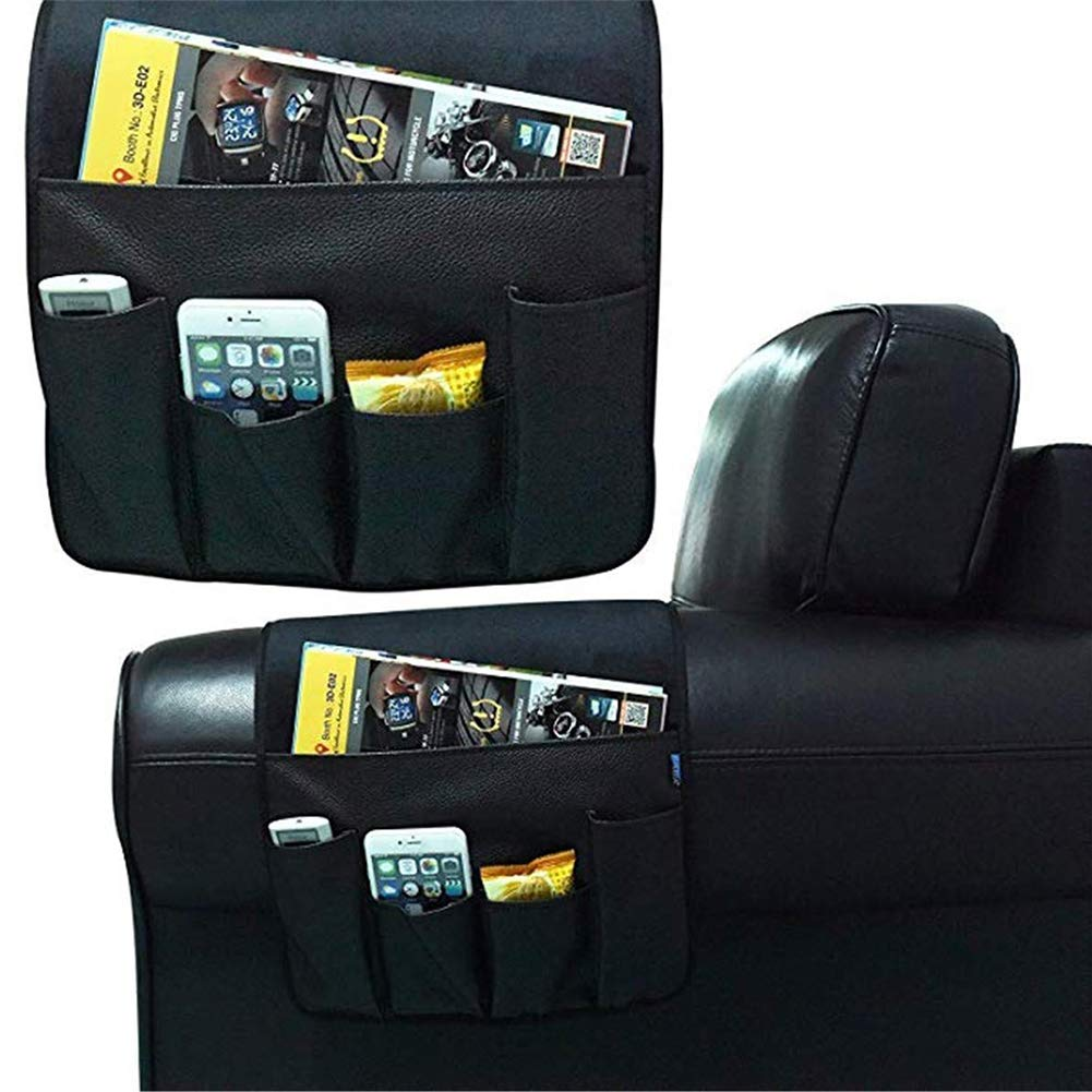 NTRA Storage Bag 5 Pockets Practical Remote Control Home Magazine Hanging Chair Arm Rest Non Slip Couch PU Leather Space Saving Sofa Side Organizer Dark Brown
