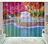 Cheap LB Nature Scenery 3D Window Curtains for Living Room Bedroom,Red Leaf Waterfall Scene Room Darkening Window Treatment Blackout Window Drapes 2 Panels,42 x 63 Inches