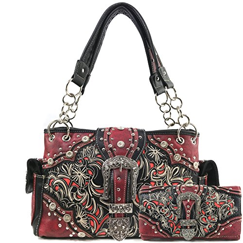 e Stone Buckle Rhinestone Western Floral Embroidery Shoulder Handbag | Trifold Wallet (Red Handbag and Wallet Set) (Floral Buckle Set)