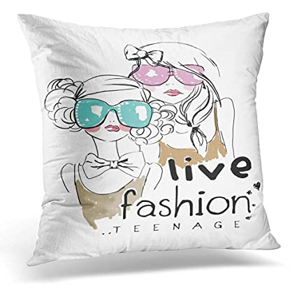 Amazon Throw Pillow Covers Pink Vintage Teenage Girl With Adorable Teenage Decorative Pillows