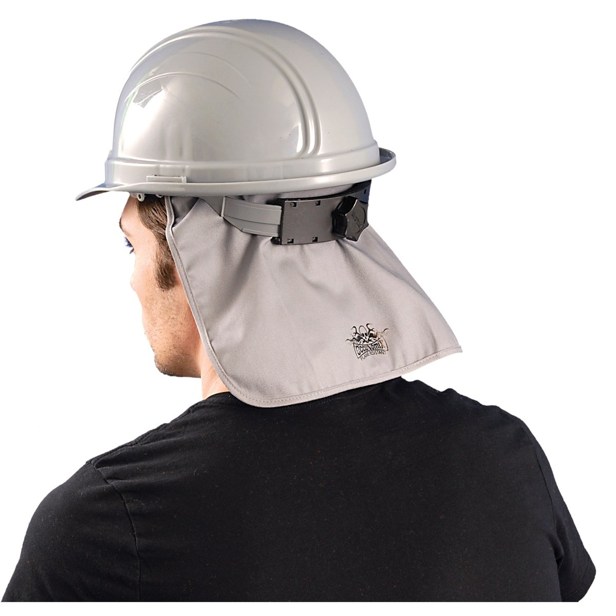 Hard Hat Cooling Pad w/ Neck Shade, Grey, One Size, Flame Retardant, #969