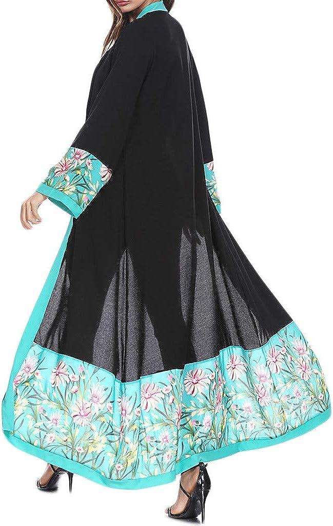 FRAUIT Strickjacke Damen Herbst Fr/ühling Langen Shirts Mantel Frauen Muslimische Lace getrimmt Front Abaya Blusen Maxi Kleid Kimono Freizeit Festival Party Kleidung 100/% Baumwolle