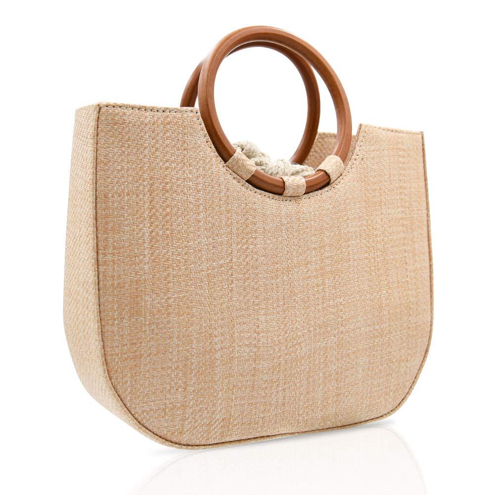VOSTOR Straw Handbag for Women Summer Beach Straw Handbag Wooden Ring Tote Crossbody Shoulder Bag With Leather Strap (Khaki)
