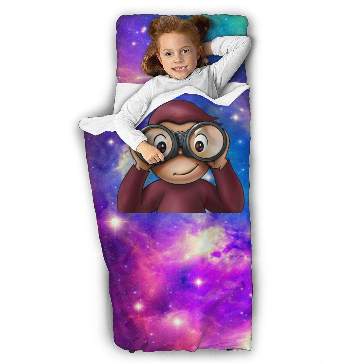 """Beautfe Galaxy Space Star Curi-OUS Ge-orge Unisex Toddler Kid Nap Mat,Children Slumber Bags with Pillow for Preschool, Daycare, Sleepover Sets-50"""" X 20"""""""