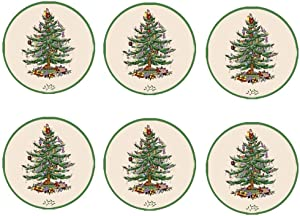 Mumeson Set of 6 Coaster Christmas Pine Tree Design Coasters for Drinks - Tabletop Protection Prevents Furniture Damage