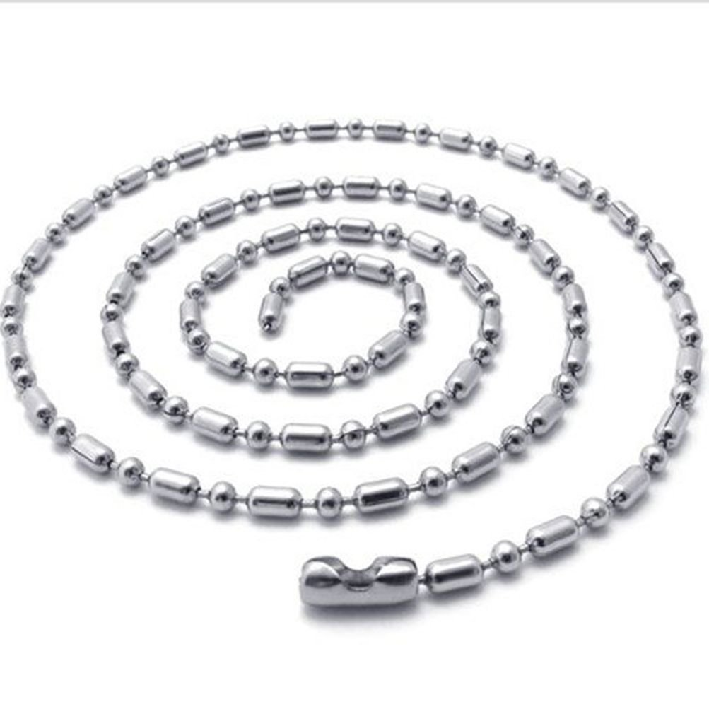 Sandra Mens Jewelry 1.5mm-4mm 16-40 Silver Stainless Steel Ball /& Oval Bead Necklace Chain