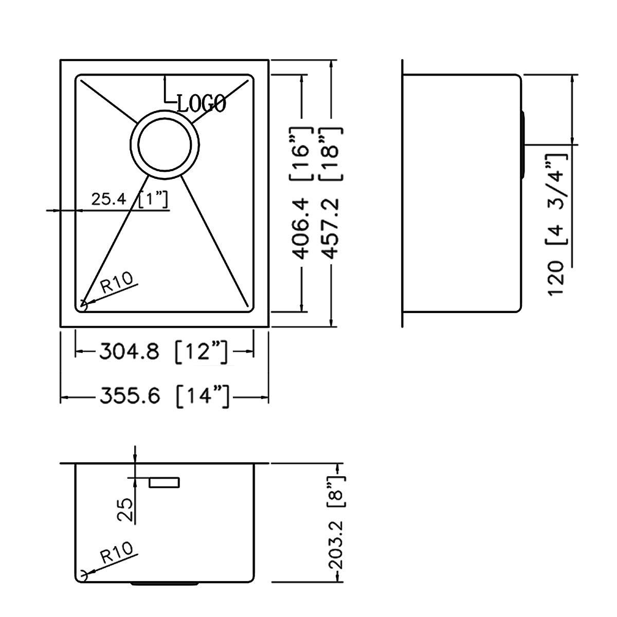 Ruvati 14-inch Undermount Wet Bar Prep Sink Tight Radius 16 Gauge Stainless Steel Single Bowl - RVH7114 by Ruvati (Image #8)