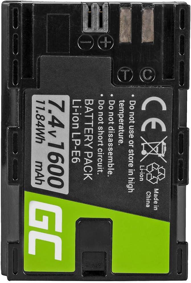 Green Cell® LP-E6 LP-E6N Batería para Canon Batterygrip BG-E6 EOS 5D Mark II EOS 5D Mark III EOS 60D 60DA 6D 7D Cámara, Full Decoded (Li-Ion Celdas 1600mAh 7.4V): Amazon.es: Electrónica