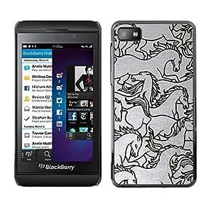 FlareStar Colour Printing Horse Drawing Sketch Black White Art cáscara Funda Case Caso de plástico para Blackberry Z10