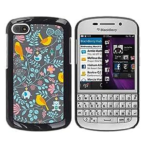 FECELL CITY // Duro Aluminio Pegatina PC Caso decorativo Funda Carcasa de Protección para BlackBerry Q10 // Floral Wallpaper Pattern Teal Pink