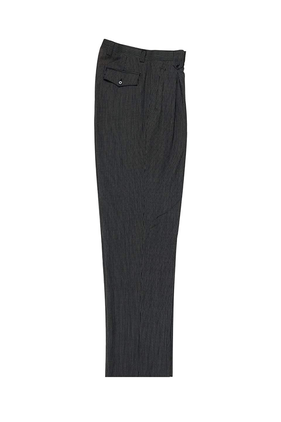 Men's Vintage Pants, Trousers, Jeans, Overalls Tiglio Black White Mini-Stripes Wide Leg Pure Wool Dress Pants Luxe 2270/7/06 $99.00 AT vintagedancer.com