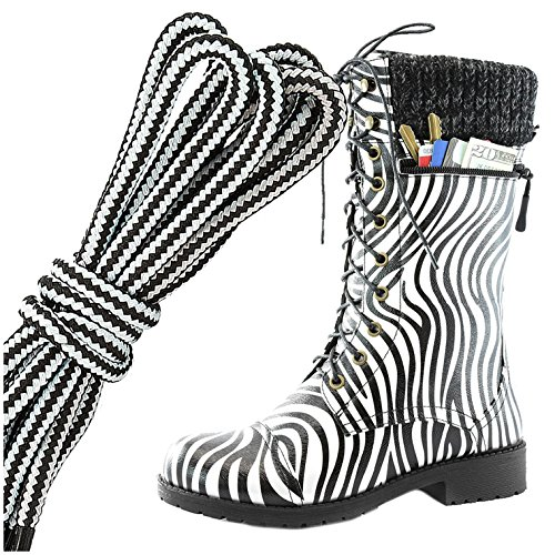 Dailyshoes Womens Combat Stijl Lace Up Enkellaarsje Ronde Teen Militaire Knit Creditcard Mes Geld Portemonnee Pocket Laarzen, Witte Zebra Pu