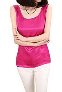 2e0d2851a4ddb Fashion Silk Women s Shirts Blouse Silk Tank Tops at Amazon Women s ...