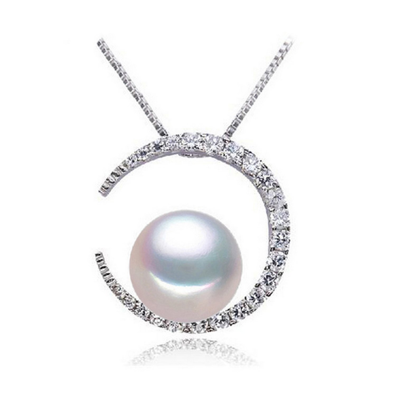 CS-DB Pendants White Pearl Moon Wedding Gift Silver Necklaces