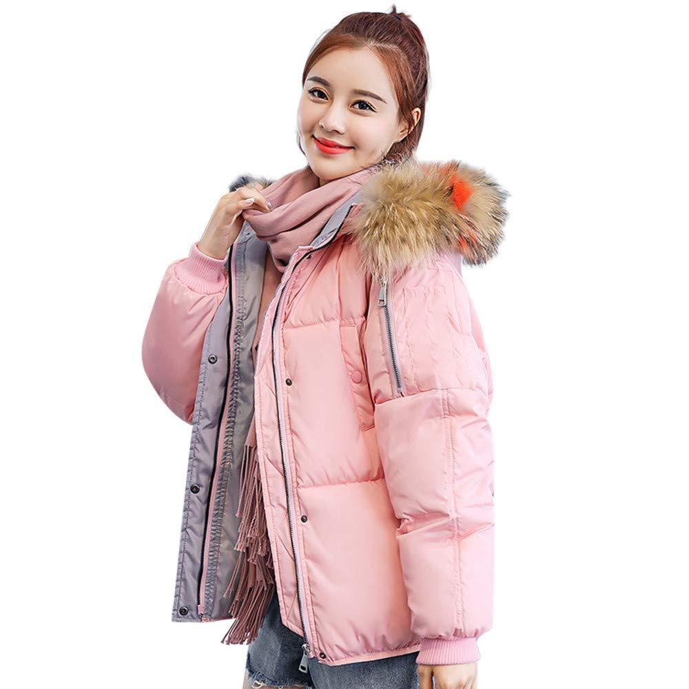 Seaintheson Women's Coats OUTERWEAR レディース B07HRFSJSP Large ピンク ピンク Large