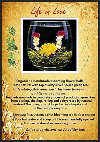 Organic 100% Natural Raw 12 Blooming Green Tea Balls Gift Bag with Globe Amaranth , Jasmine and Marigold Flowers