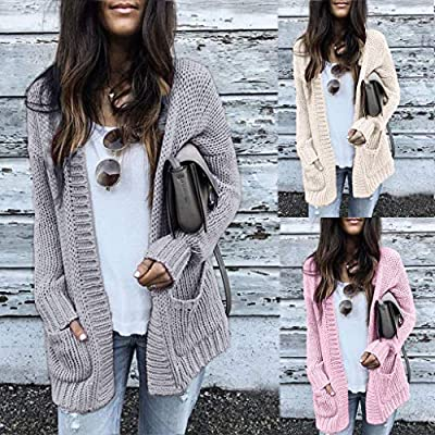 Coat for Womens, FORUU Ladies Casual Long Sleeve Solid Sweater Cardigan with Pockets