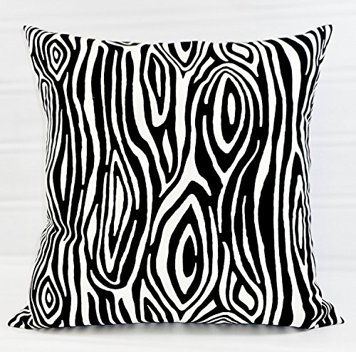 Wood Grain black and white Pillow sham Cover - Sofa Pillow Cover - Willow Cover Sham Euro pillow case. Cotton. Bed Euro Sham, Cushion Cover - 26