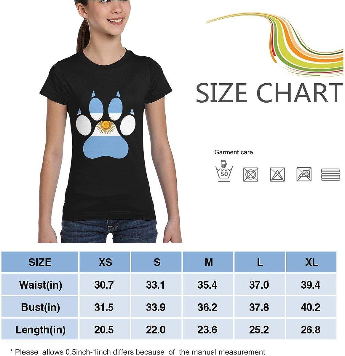 XS-XL Girls Short Sleeve Argentina Flag Dog Paw T-Shirts Fashion Blouse Clothes