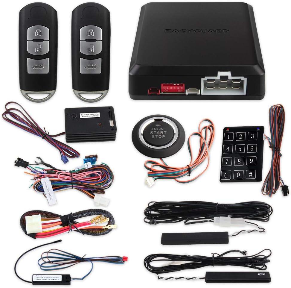 EASYGUARD EC002-MA-NS Smart Key PKE Car Alarm System with Proximity Lock Unlock Remote Starter Push Button Start Vibration Alarm keyless Start Universal