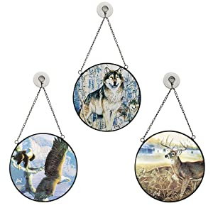 Sun Catchers Hand Painted Glass, Al Agnew Native American Gift, Best Home Decor Stained Glass Wildlife Present, Set of 3-Authentic American Wildlife Animals, Eagle, Deer, Wolf.