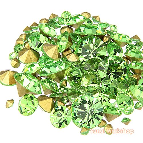 (Light Green, ss16, 4mm, 1440pcs) Pointed Back Round Glass Faceted Rhinestones Scrapbooking Cabochon Nail Art Craft